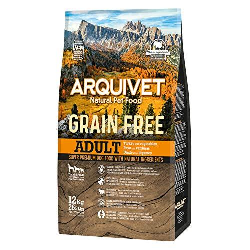 Arquivet Pienso natural para perros adultos - Grain free - Sin grano - Pavo con verduras - Comida natural para perros - Alimentación canina - Pienso hipoalergénico - 12 Kg