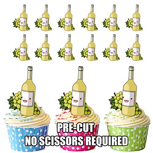 AK Giftshop PRE-CUT Witte Wijn & Druiven - Eetbare Cupcake Toppers/Cake Decoraties (Pak van 12)