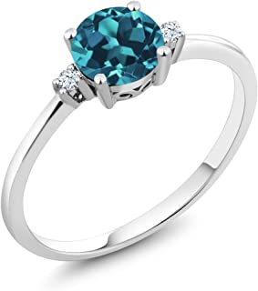10K White Gold 0.78 Ct Round London Blue Topaz White Created Sapphire Ring (Available 5,6,7,8,9)