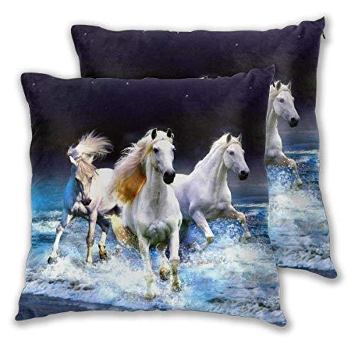 Lewiuzr Fundas de Almohada cuadradas, Paquete de 2 Fundas de cojín Decorativas Running Horse Fundas de Almohada 55X55 Cm