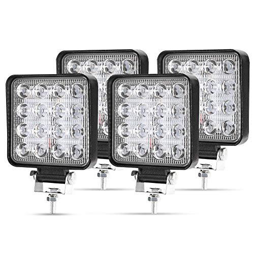 LED Arbeitsscheinwerfer, 4 X 48W Quadrat LED Offroad Zusatzscheinwerfer 12V 24V Scheinwerfer IP67 Wasserdicht Rückfahrscheinwerfer für Trecker KFZ Bagger SUV, UTV, ATV