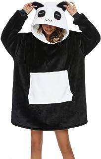 Coperta con Cappuccio Panda Felpone con Maniche Oversize Unisex Plaid con Tasca Felpa Indossabile per Divano TV Casa