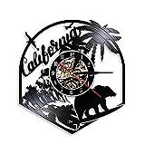 Reloj de Pared Reloj de Pared de Vinilo con Signo de la República, Arte de Pared de la República, Dream CA Home State Reloj de Pared, Oso Grizzly, Reloj de Pared