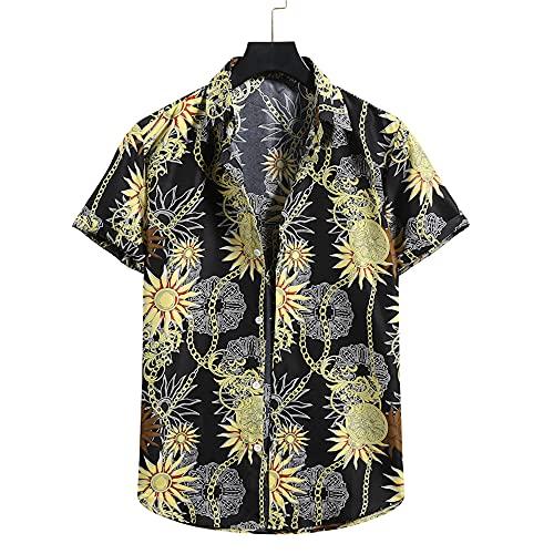 Manga Corta Hombre Verano Cuello V Casual Vacaciones Hombre Hawaiana Shirt Moda Floral Estampado Henley Shirt Clásica Suelta Ligera Secado Rápido Hombre Camisa Deportiva D-Black 1 XL