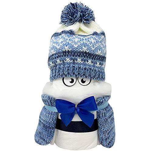 Kleines Windelbaby PIMFI Pommelchen 21tlg. in blau für Jungen. Geschenk zur Geburt Babyparty Taufe. Die Windeltorte ist geschenkfertig in Folie verpackt.