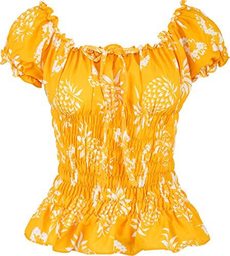 Küstenluder Damen Oberteil Thao Pineapple Ananas Retro Bluse Gelb M