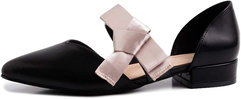 Nine Seven Genuine Leather Women's Pointed Toe Low Chunky Heel Elegant Handmade Concise Slip On Mary Jane Dorsay Pumps