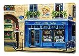 LEotiE SINCE 2004 M. Dunlap Blechschild Welt Reise Cafe Frankreich Fahrrad Wand Deko Schild 20X30 cm
