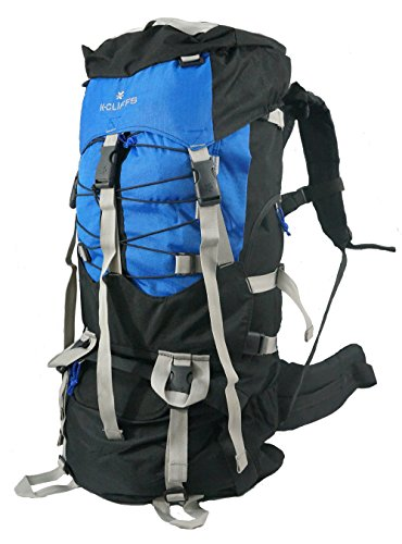 K-Cliffs Hiking Backpack Large Scout Camping Backpack Outdoor Travel Bag Emergency Survival Pack w/Rain Cover Royal Blue