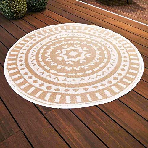 Nordje Outdoor-Teppich | Polypropylen | aus recyceltem Kunststoff | für Innen und Außen | Federleicht (Taupe, Ø 150 cm)