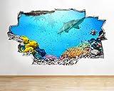 chuyue A088 acuario pez tiburón arrecife de coral pared calcomanía cartel 3D arte pegatina vinilo habitación