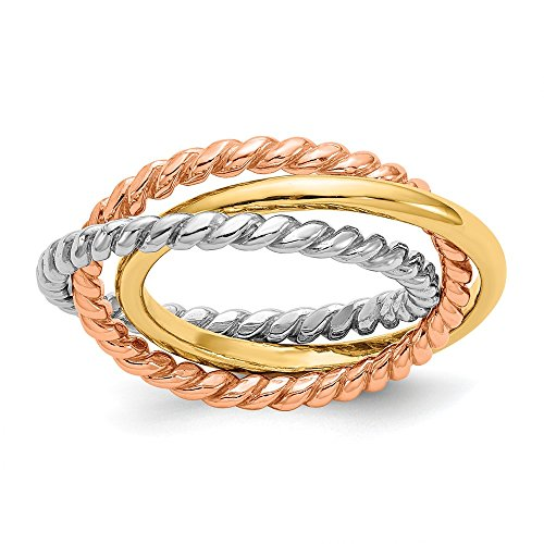 14k Tri Color Yellow White Gold Rope 3 Wedding Ring Band Interlocking Size 7.00 Stackable Fine Jewellery For Women Gifts For Her