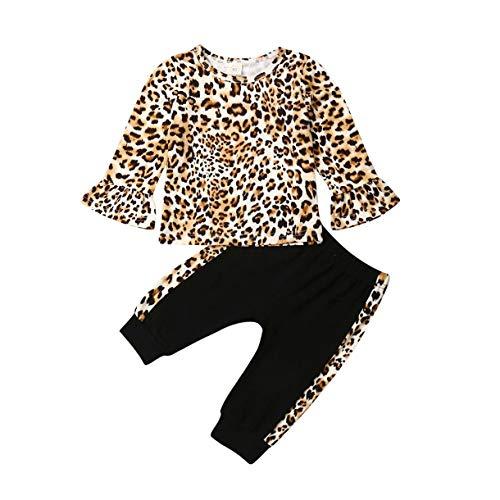 Qinngsha Kleinkind Baby Kinder Mädchen Casual Hot Outfits Leopard Tops Langarm Flare T-Shirt + Legging Hose Kleidung Set (2 Stück) Gr. 90 cm, gelb
