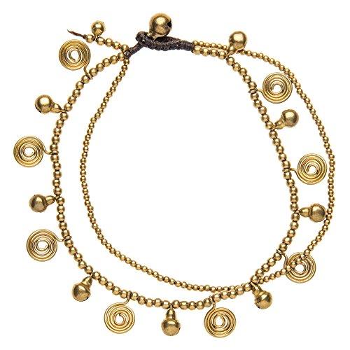 81stgeneration Armband voor dames, messing goud, spiraalvormige bel, enkelband, 28 cm