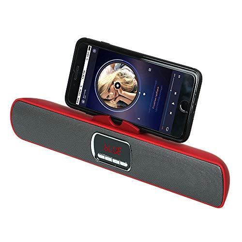 qiyanHifi Altavoz Bluetooth Receptor inalámbrico Barra de Sonido estéreo TF FM USB Soporte del Soporte Super Bass Altavoces duales para teléfono TV Pc-in Altavoces portátiles Rojo