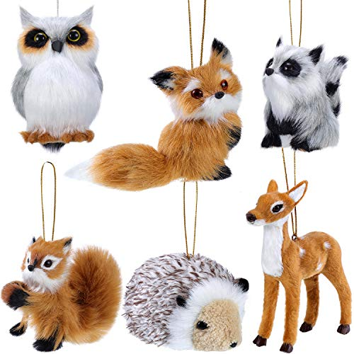 WILLBOND 6 Pieces Plush Animal Ornament Woodland Fur Animal Ornaments Furry Animal Ornament Christmas Hanging Ornament for Christmas Tree Decoration