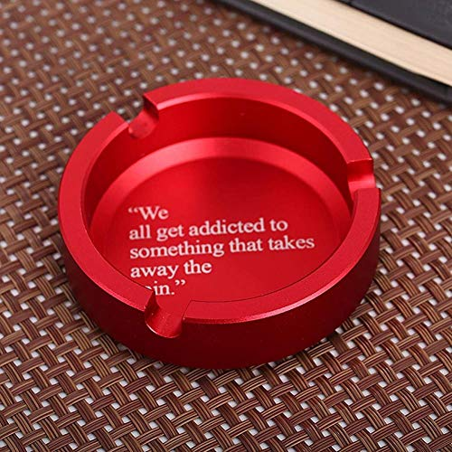 De Aluminio Del Metal Cenicero Negro CíRculo Rojo Con Negro DecoracióN Personalizada Almacenada,Rojo
