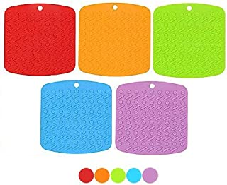 Naranqa 5-Pieces Premium Silicone Trivet Mat, Pot Holder, Hot Pad, Spoon Rest with Multi-Purpose,442°F Heat Resistant, Thick and Flexible (5)