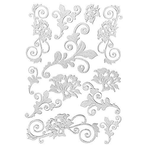 Ideen mit Herz 3-D Sticker Deluxe   Zur Hochzeit, Verschiedene Hochzeitsmotive   Erhabene Aufkleber   Bogengröße: 21 x 30 cm (Blumenranken   Silber)