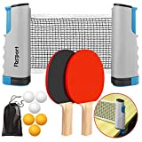 FBSPORT Ping Pong Paddle Set, Portable Table Tennis Set with Retractable Net, 2 Rackets, 6 Balls and Carry Bag...