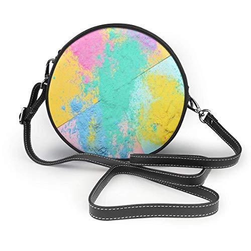 DJNGN Cartera redonda cruzada colorida Holi polvos bolsos de hombro círculo bolso cruzado bolso de mano para niña