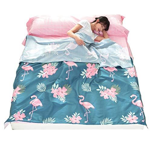 Stillshine Single/Double Bed Reizen Slaapzak Liner Flamingo Patroon afdrukken Envelop Ultralight Draagbare Katoen Reisbladen Voor Outdoor Camping