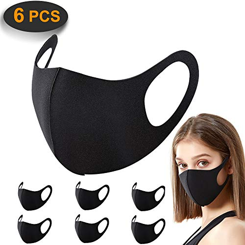 6 Pack gezichtsmaskers, ACMETOP anti-stofmasker, zijdeachtige aanraking Unisex mondmasker, herbruikbare en wasbare maskers voor hardlopen, fietsen, skiën motoren, buitenactiviteiten (zwart)