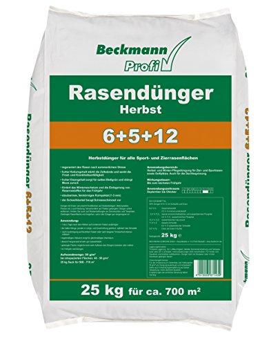 Floragard Beckmann Profi Engrais pour Gazon 6 + 5 + 12 en Automne 25 kg
