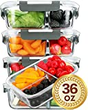 [5 Packs]Glass Meal Prep Containers 3 Compartment with Lids, Glass Lunch Containers,Food Prep Lunch...