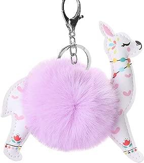 Shineweb Cute Alpaca Keyring, Mini Soft Plush Ball Keychain Bag Hanging Car Phone Ornament Doll Decor Girls Boys Gift - Purple