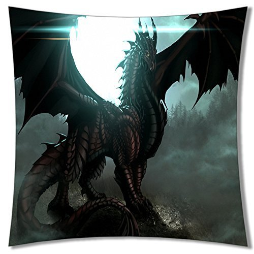 A-SLLE Square Unique Decorative Throw Pillow Case Cushion Cover Dragon Design 18 X 18 Two Sides Printed 191