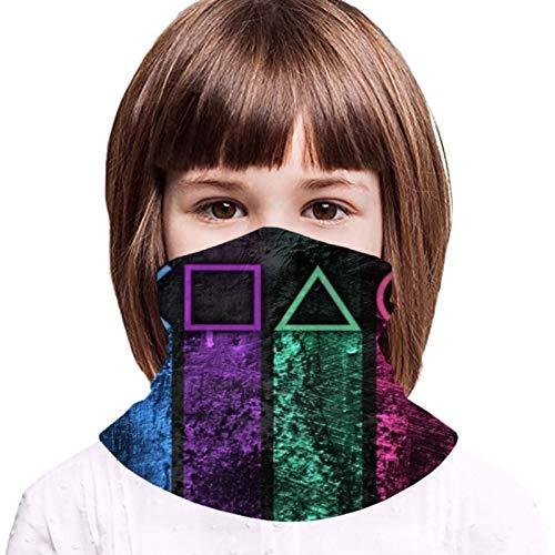 Cubierta protectora de la toalla de la cara de los niños con 2 filtros Playstation gradiente botón símbolos 3d impreso a prueba de sol transpirable pasamontañas para uso al aire libre o diario