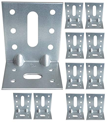 Corner Braces Brackets Plates, Heavy Duty Wooden Angle, Metal Steel Sheet Galvanised 2.75'x 1.97'x 2.36'x 0.08' (70 x 50 x 60 x 2 mm) Pack of 10pcs