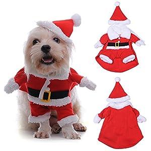 yunt Pet vêtements pour chiens chats chiot Santa Claus Costume Vêtements de nuit de Noël d'hiver pour femme pull pour chien avec chapeau