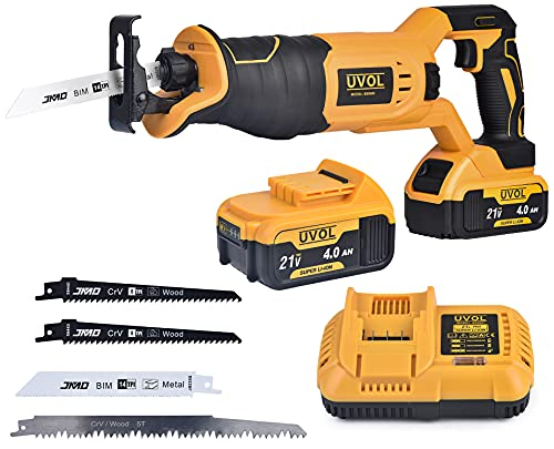 UVOL 21V/4.0Ah Cordless Reciprocating Saw for Wood & Metal Cutting, Powerful Lightweight Reciprocating Saw Battery-powered Brushless Compact Saw with Battery, Charger & Blades (BX8400)