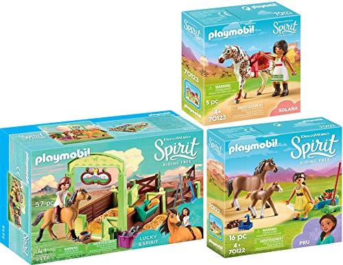 PLAYMOBIL® Spirit 3er Set 70122 70123 9478 PRU mit Pferd und Fohlen + Solana beim Voltigieren + Pferdebox Lucky & Spirit