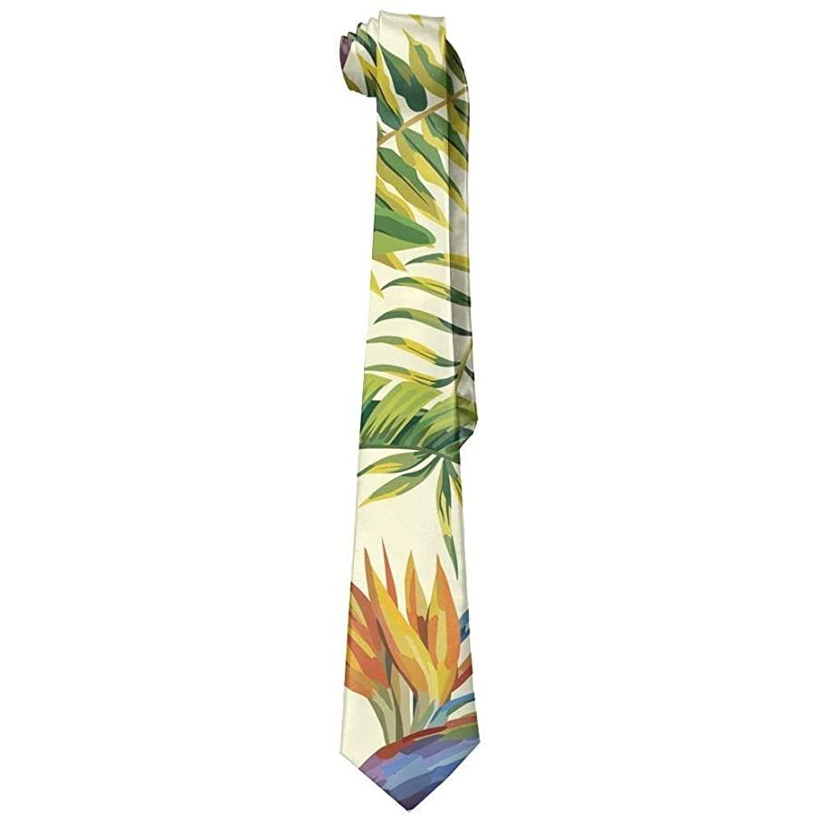 Hawaiian Plant Color Flowers Mens Acceossories Necktie Printed Ties Silk New Length 143-145cm