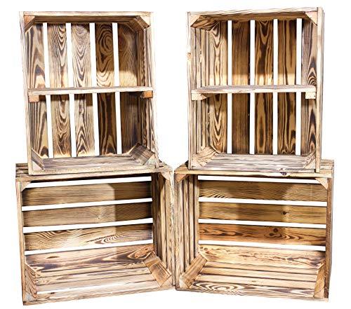 Vinterior DIY Set (4 Kisten) Gemischtes Paket Flambierte Holzkisten-Weinkisten/Regal aus geflammten Obstkisten mit Zwischenboden -quer-