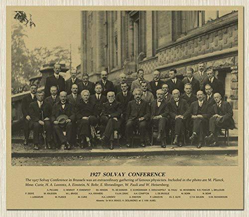 CNHNWJ 1927 Fünfte Solvay Konferenz Physiker Foto Poster Klassenzimmer Bild Dekor Kunstdruck Home Wanddekor benutzerdefinierte Leinwand Gemälde 50x60cm ohne Rahmen