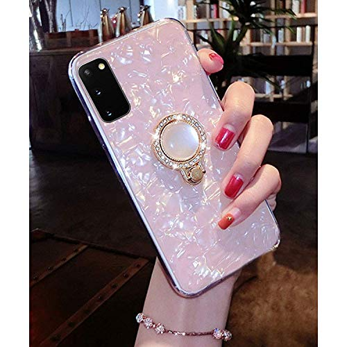 KC Glitter Dream Shell Pearl Design Stand Ring Holder Soft Smooth Silicone Semi Transparent Back Cover for Samsung Galaxy S20 (Pink Gold)