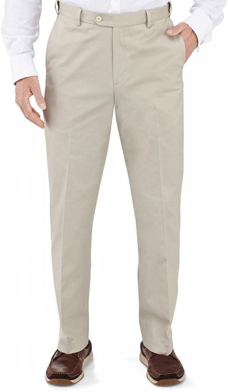 Winthrop & Church Men's Plain Front Cotton Pants SHORT RISE