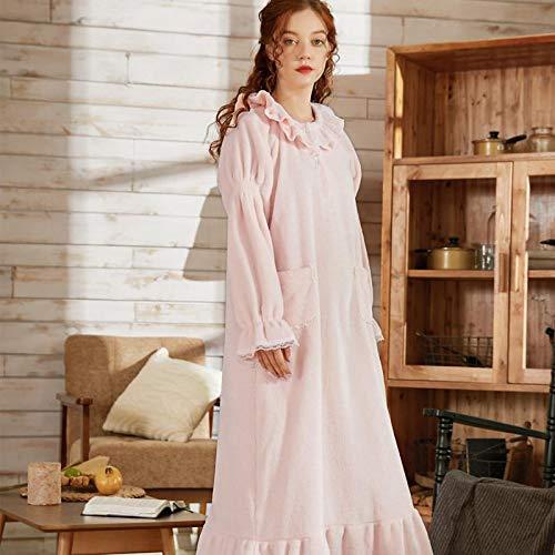 STJDM Bata de Noche,Otoño Invierno cálido Franela Mujer camisón Ropa de Dormir Manga Larga Estilo Princesa señoras Ropa de Dormir hogar Hotel Tienda Viaje L Rosa