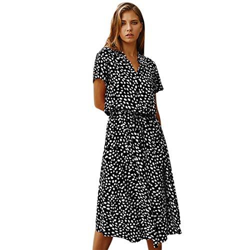 Vertvie Sommarklänning eleganta damer kortärmade sexiga klänningar V-ringad långklänning fritidsklänning flickblommigt tryck strandklänning med knapp strandklänning med bälte