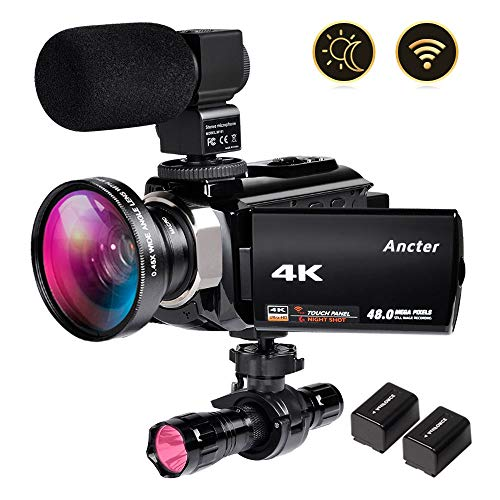 4K Video Camera Zohulu Camcorder, WiFi Vlogging Camera for YouTube with Microphone, 60FPS 48MP...