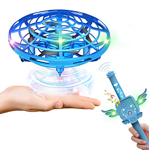 Hand Operated Drones for Kids or Adults with Magic Wand - HONGXUNJIE Double control Flying Toy Hand Free Mini Drone flying Ball with Magic Sound for girls and boys Easy indoor and outdoor dron (Blue)