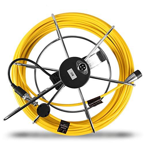 HBUDS Kanalisationsablauf-Überwachungskamera 30m Glasfaser-Schiebekabel Edelstahl-Felgenrad für Kamera der Größe 7D1