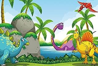 Yeele 5x3ft Dinosaur Backdrop Cartoon Jurassic Park Photography Background for Picture Party Banner Decor Kid Children Portrait Photo Booth Video Shooting Vinyl Drape Wallpaper Studio Props
