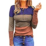 Women Tops Round Neck Pullover Top Striped Lace Hollow Out Splicing Blouse Spring Fall Long Sleeve Casual Top Orange