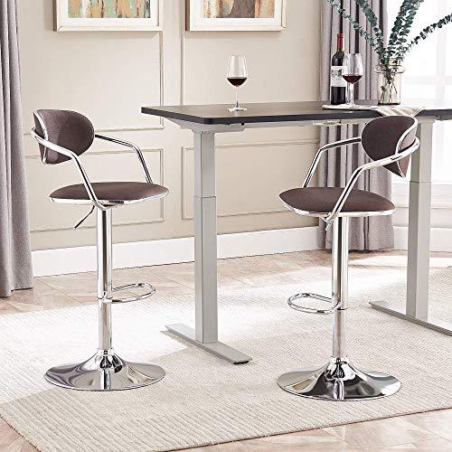Cozy Castle sgabelli cucina set di 2, sgabello cucina moderni regolabile in altezza con schienale in tessuto di lino fine, sgabelli bar girevoli carico 150 kg (Marrone)