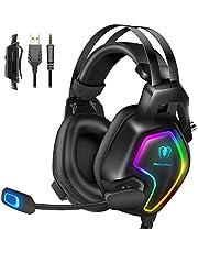 Cuffie Gaming per PS4 PS5 Xbox One Stereo Audio Surround 3D Bass Cuffie con Microfono Cancellazione del Rumore, Controllo del Volume Luce RGB 3.5mm per PC Mac